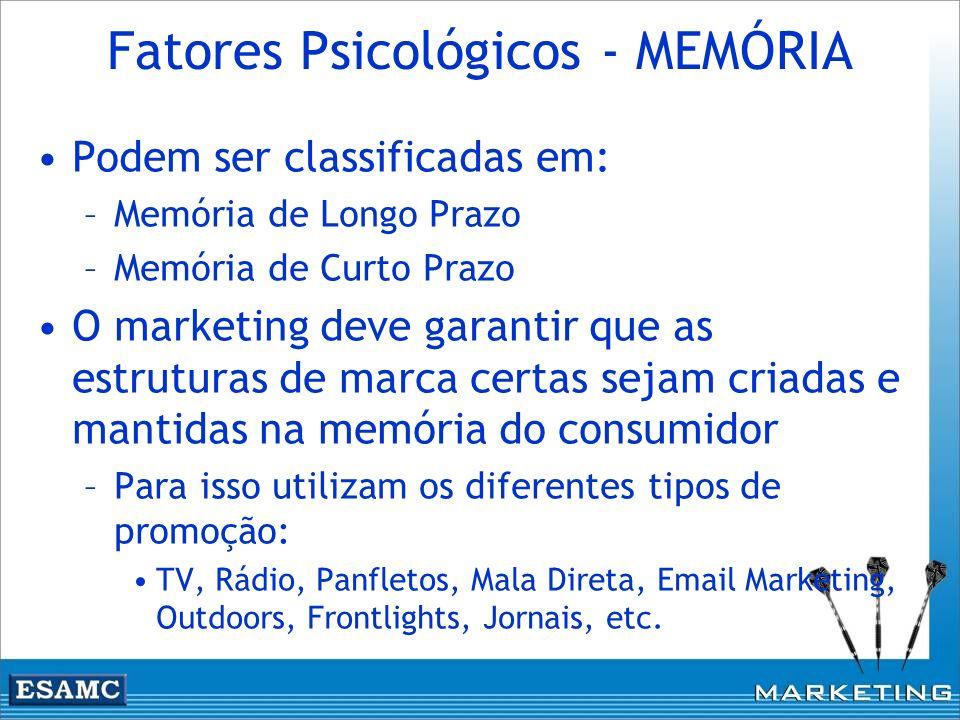 Fatores Psicológicos - MEMÓRIA Podem ser classificadas em: –Memória de Longo Prazo –Memória de Curto Prazo O marketing deve garantir que as estruturas
