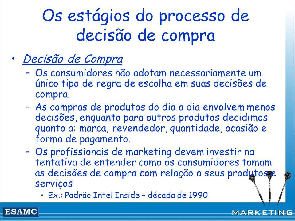 Os estágios do processo de decisão de compra Decisão de Compra –Os consumidores não adotam necessariamente um único tipo de regra de escolha em suas d