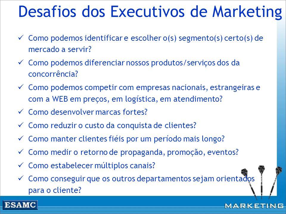 Desafios dos Executivos de Marketing Como podemos identificar e escolher o(s) segmento(s) certo(s) de mercado a servir? Como podemos diferenciar nosso