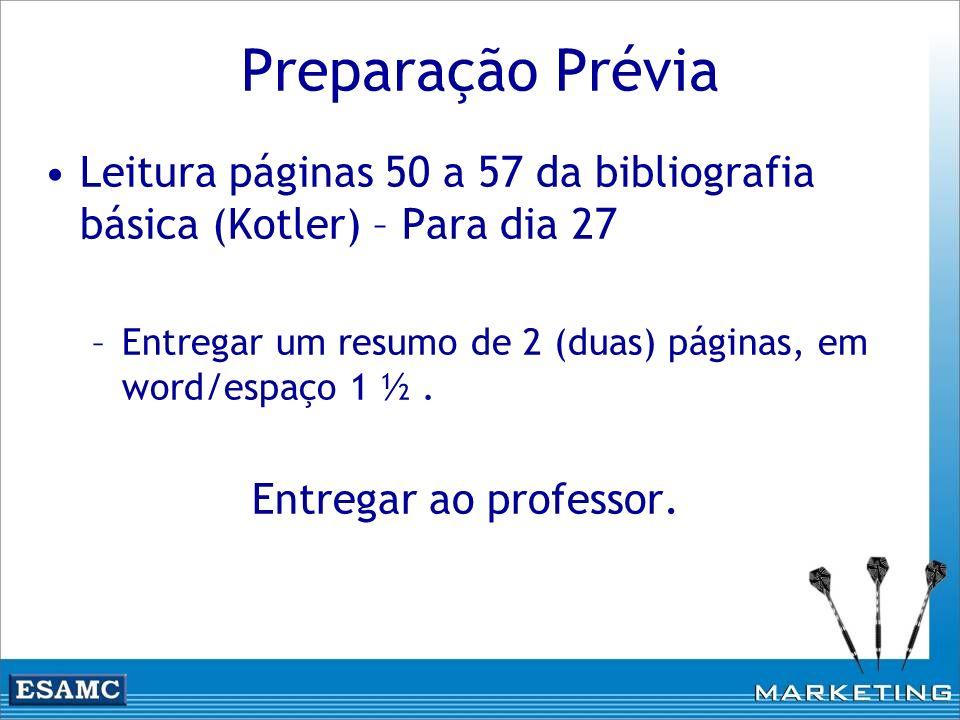 Preparação Prévia Leitura páginas 50 a 57 da bibliografia básica (Kotler) – Para dia 27 –Entregar um resumo de 2 (duas) páginas, em word/espaço 1 ½. E