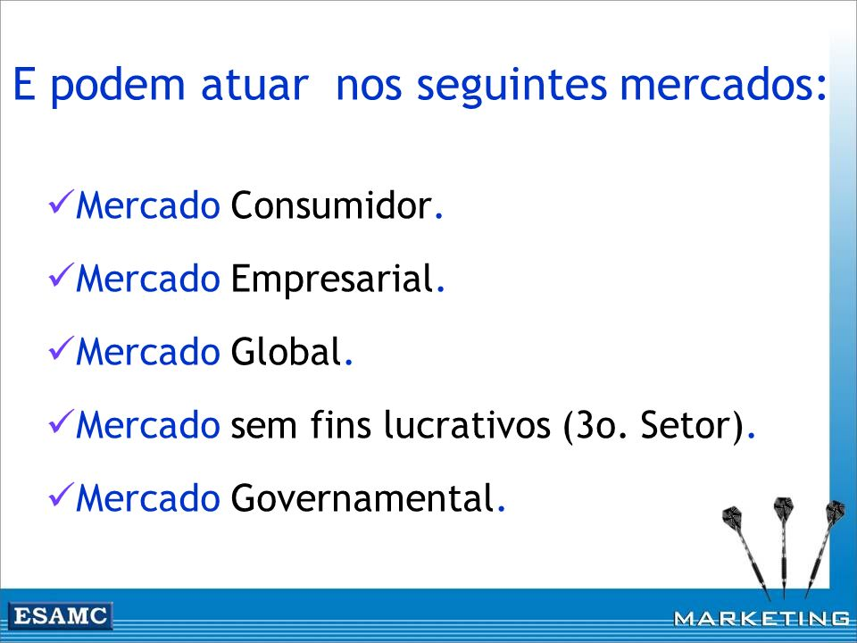 Mercado Consumidor. Mercado Empresarial. Mercado Global. Mercado sem fins lucrativos (3o. Setor). Mercado Governamental. E podem atuar nos seguintes m