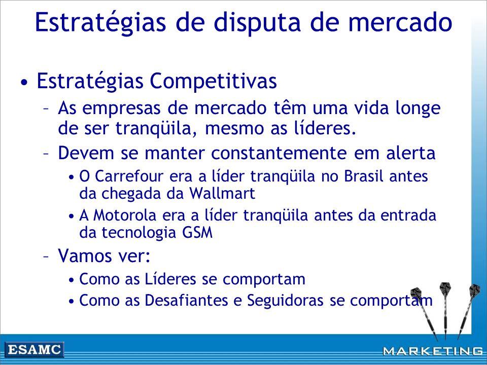 Estratégias de disputa de mercado Estratégias Competitivas –As empresas de mercado têm uma vida longe de ser tranqüila, mesmo as líderes. –Devem se ma