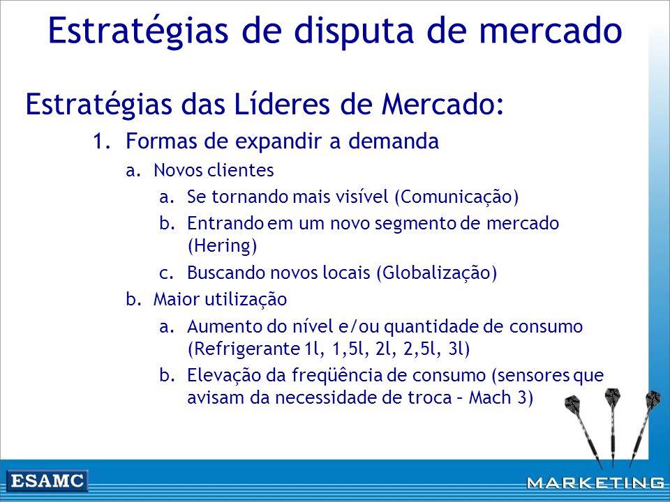 Estratégias de disputa de mercado Estratégias das Líderes de Mercado: 1.Formas de expandir a demanda a.Novos clientes a.Se tornando mais visível (Comu