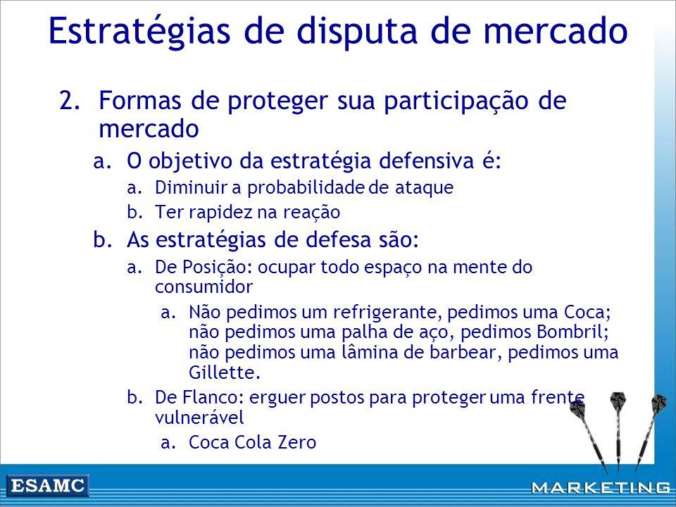 Estratégias de disputa de mercado 2.Formas de proteger sua participação de mercado a.O objetivo da estratégia defensiva é: a.Diminuir a probabilidade