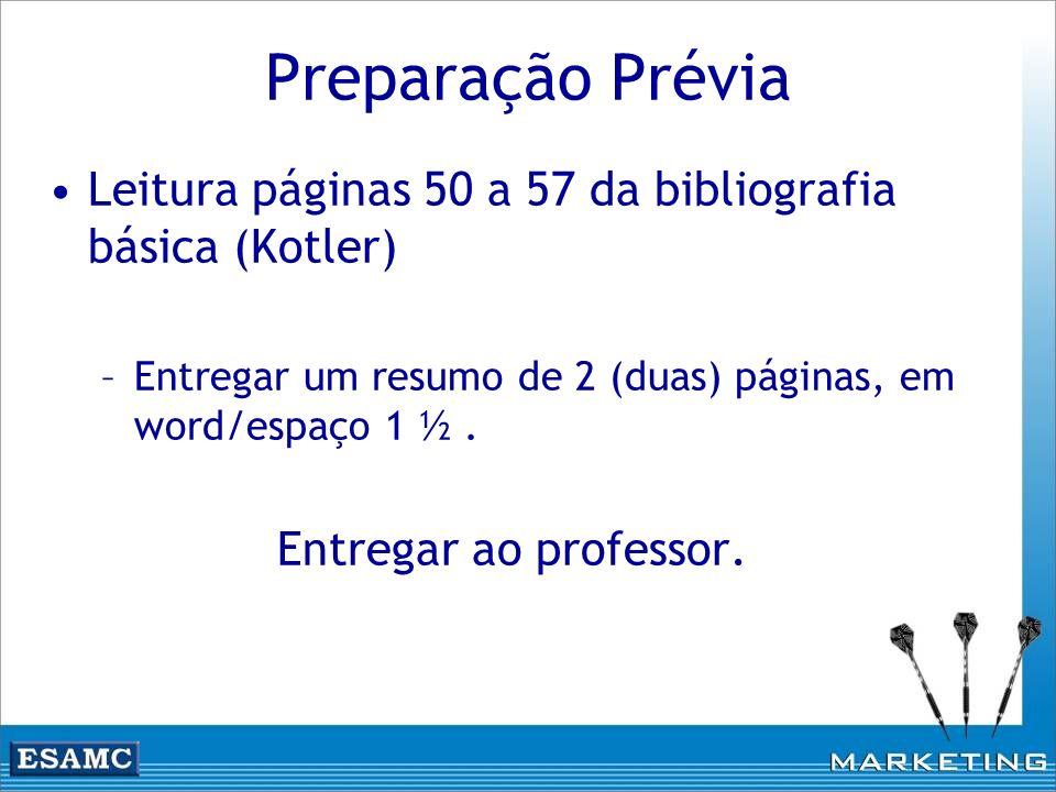 Preparação Prévia Leitura páginas 50 a 57 da bibliografia básica (Kotler) –Entregar um resumo de 2 (duas) páginas, em word/espaço 1 ½. Entregar ao pro