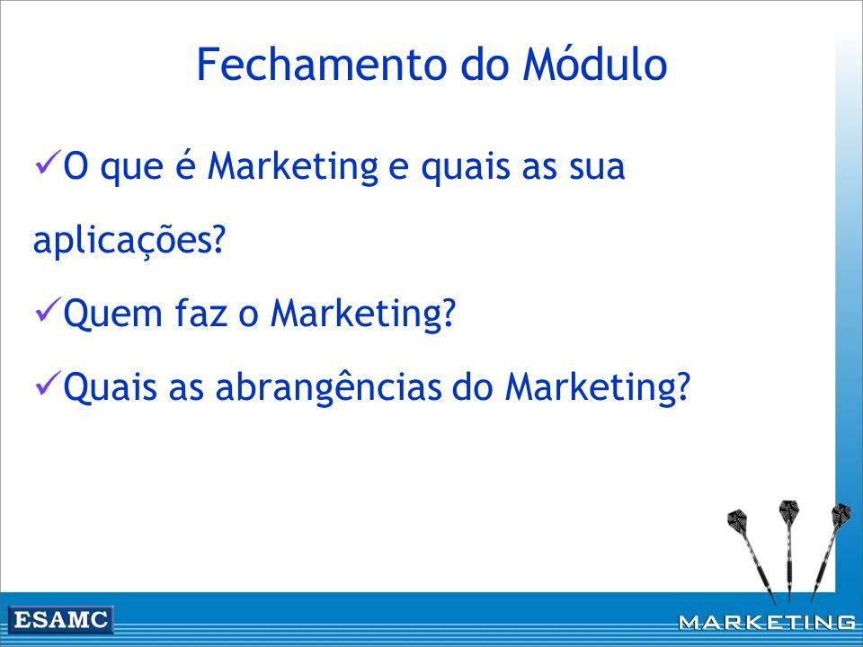 O que é Marketing e quais as sua aplicações? Quem faz o Marketing? Quais as abrangências do Marketing? Fechamento do Módulo