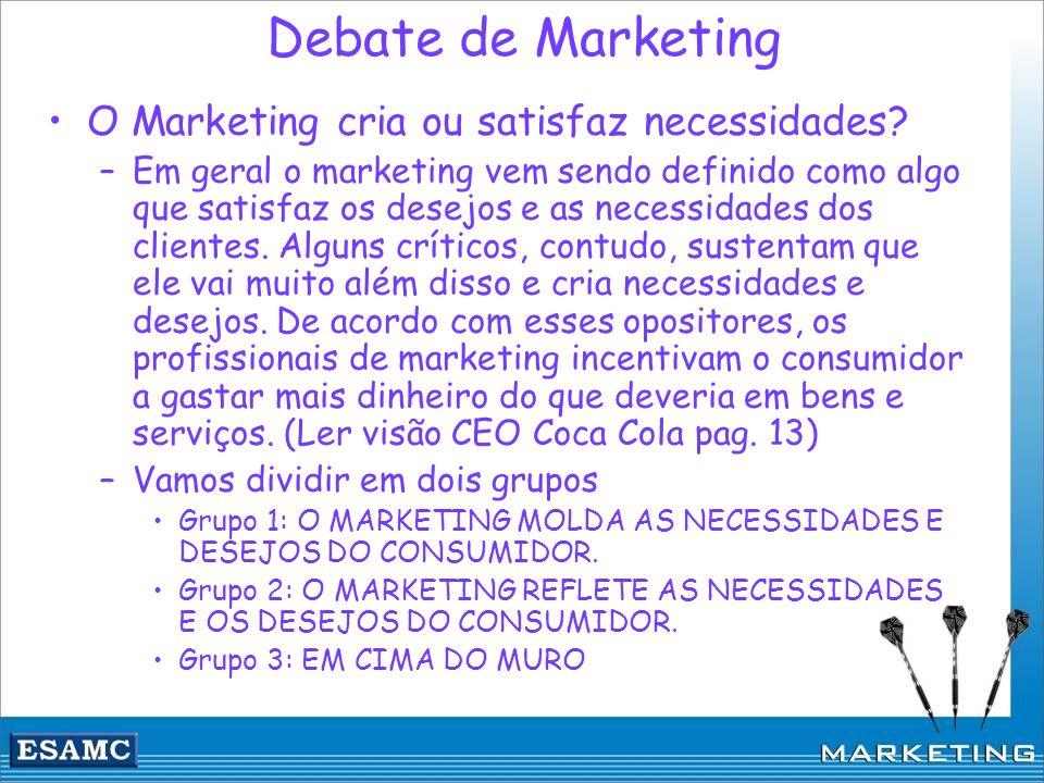 Debate de Marketing O Marketing cria ou satisfaz necessidades? –Em geral o marketing vem sendo definido como algo que satisfaz os desejos e as necessi