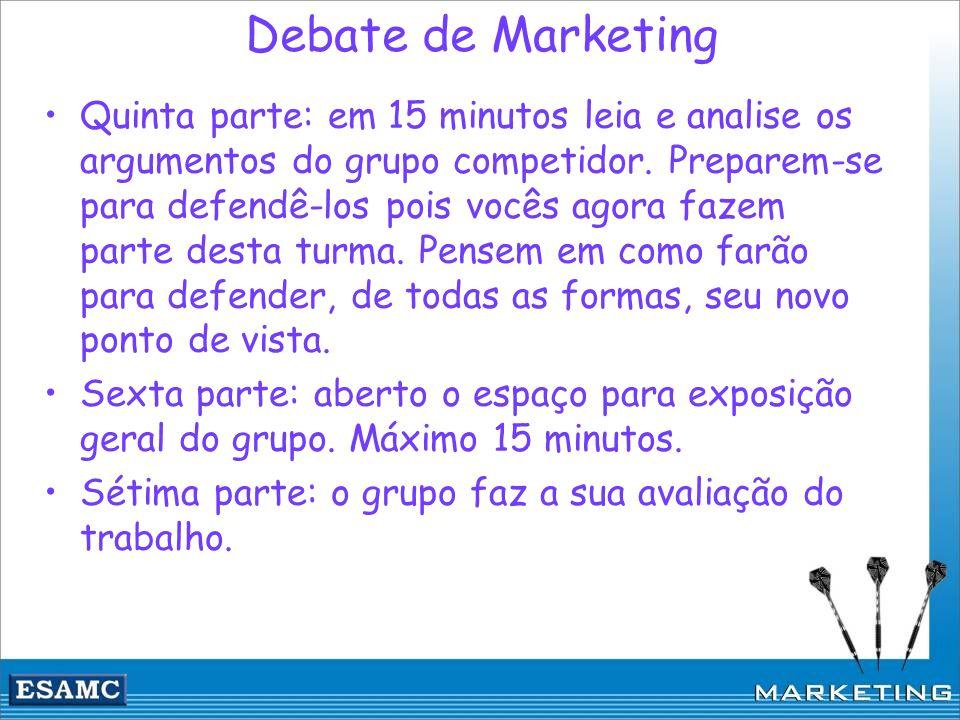 Debate de Marketing Quinta parte: em 15 minutos leia e analise os argumentos do grupo competidor. Preparem-se para defendê-los pois vocês agora fazem