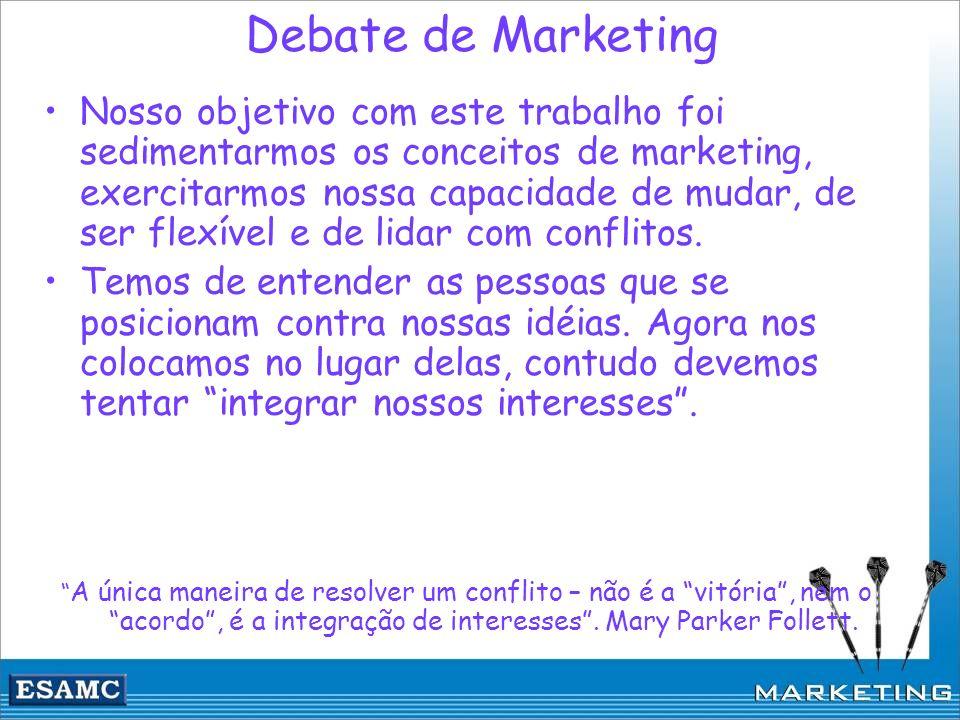 Debate de Marketing Nosso objetivo com este trabalho foi sedimentarmos os conceitos de marketing, exercitarmos nossa capacidade de mudar, de ser flexí