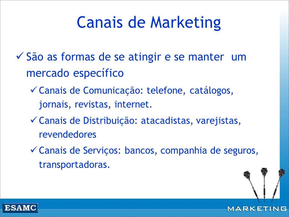 Canais de Marketing São as formas de se atingir e se manter um mercado específico Canais de Comunicação: telefone, catálogos, jornais, revistas, inter