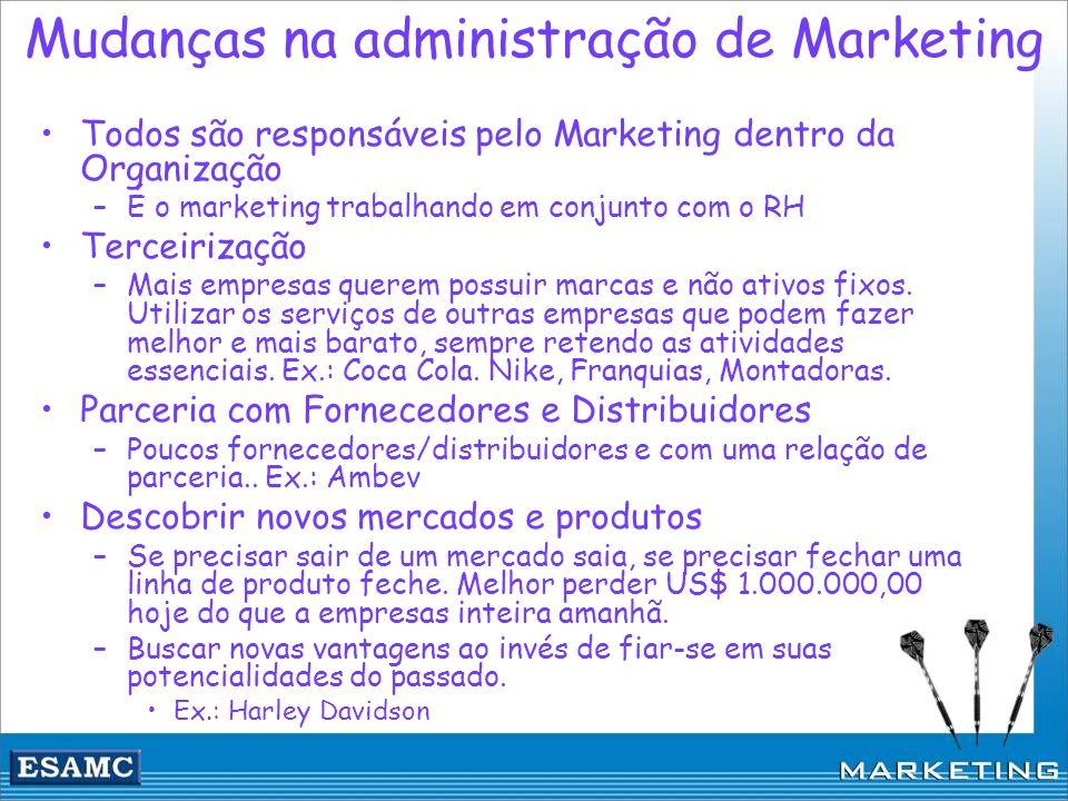 Mudanças na administração de Marketing Todos são responsáveis pelo Marketing dentro da Organização –É o marketing trabalhando em conjunto com o RH Ter