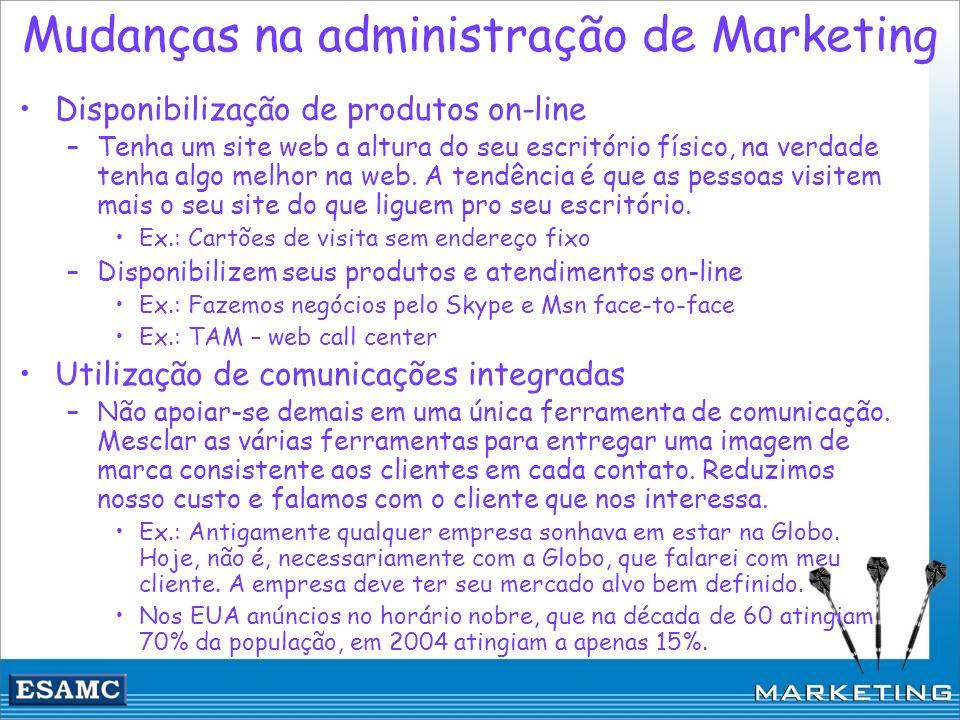 Mudanças na administração de Marketing Disponibilização de produtos on-line –Tenha um site web a altura do seu escritório físico, na verdade tenha alg