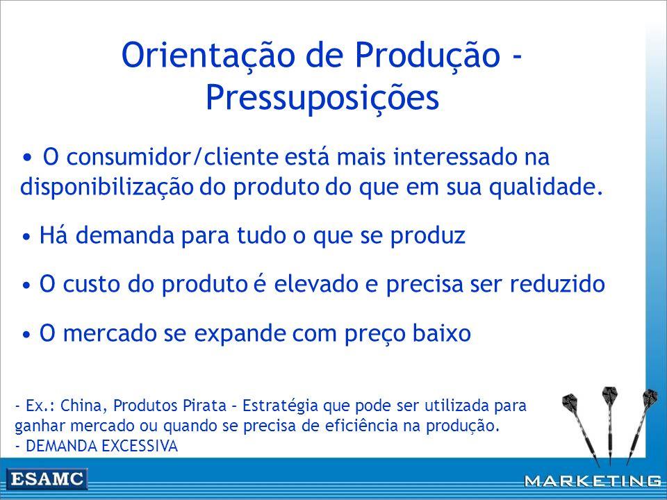 Orientação de Produção - Pressuposições O consumidor/cliente está mais interessado na disponibilização do produto do que em sua qualidade. Há demanda