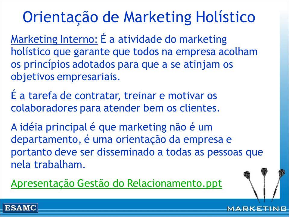 Marketing Interno: É a atividade do marketing holístico que garante que todos na empresa acolham os princípios adotados para que a se atinjam os objet