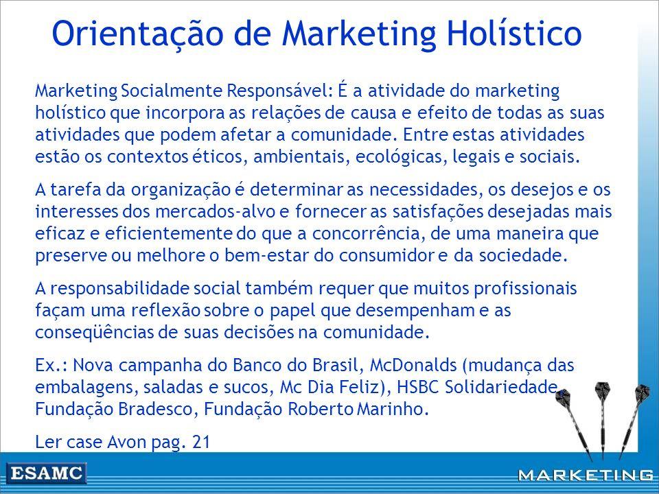 Marketing Socialmente Responsável: É a atividade do marketing holístico que incorpora as relações de causa e efeito de todas as suas atividades que po
