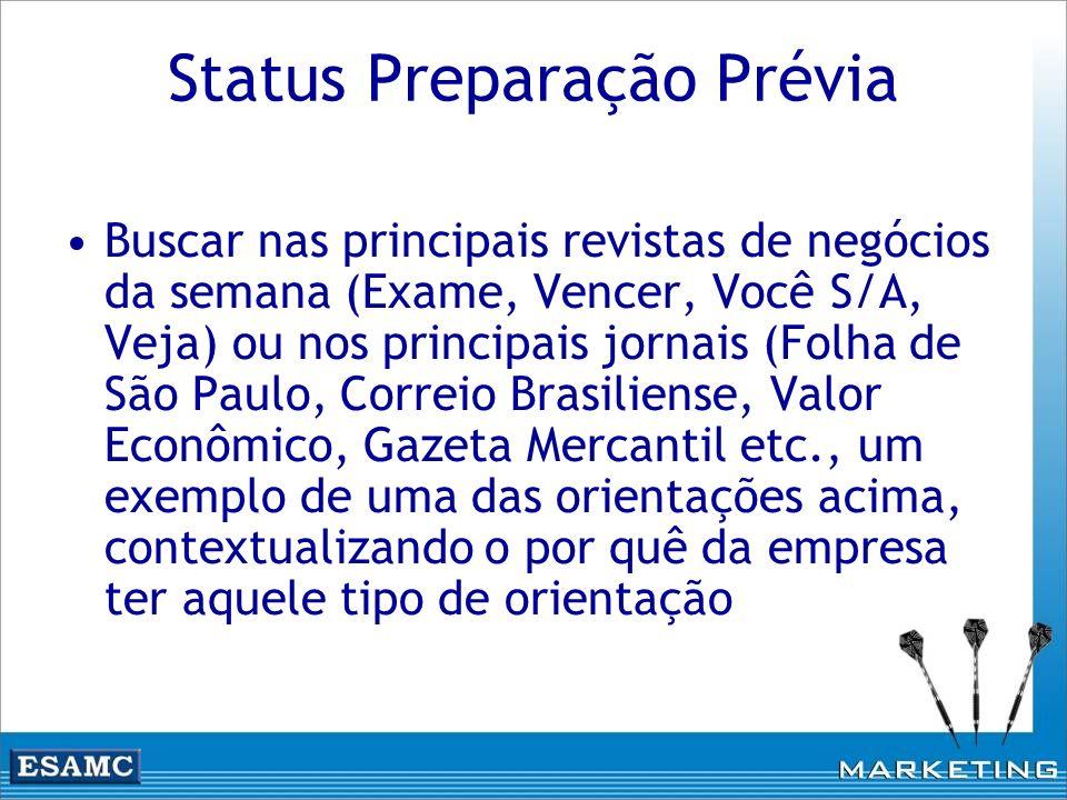 Status Preparação Prévia Buscar nas principais revistas de negócios da semana (Exame, Vencer, Você S/A, Veja) ou nos principais jornais (Folha de São