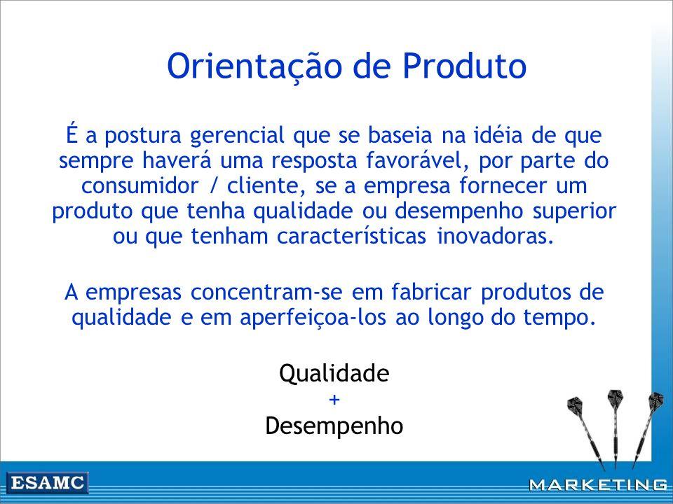 Orientação de Produto É a postura gerencial que se baseia na idéia de que sempre haverá uma resposta favorável, por parte do consumidor / cliente, se