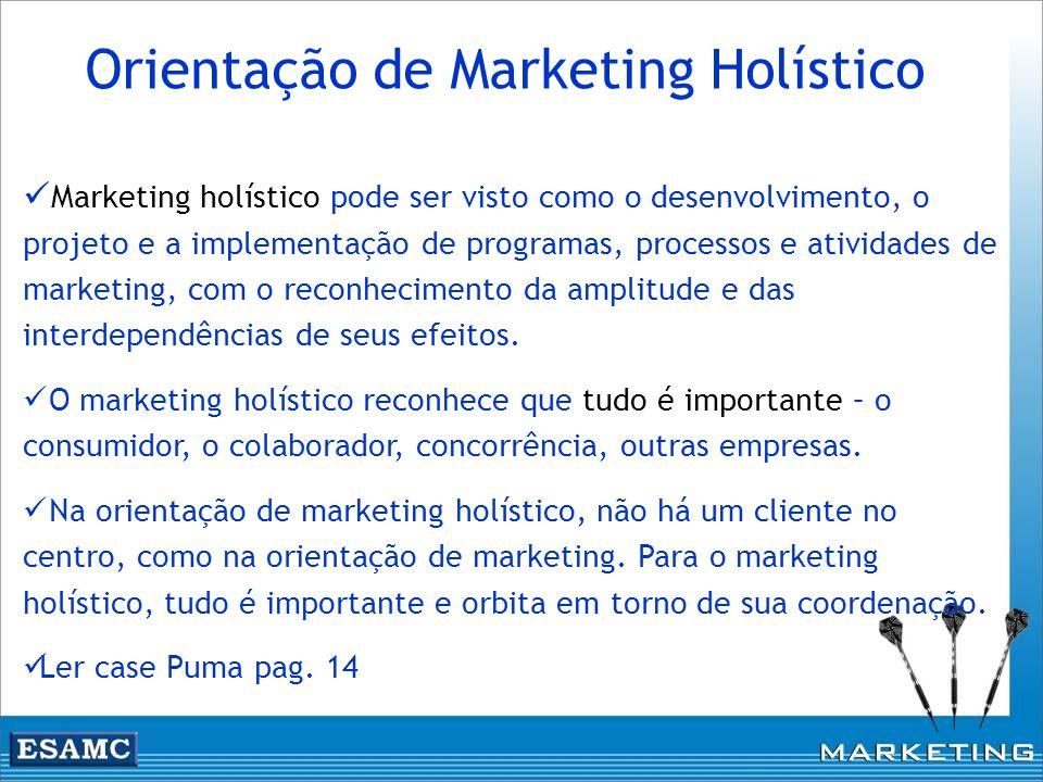Marketing holístico pode ser visto como o desenvolvimento, o projeto e a implementação de programas, processos e atividades de marketing, com o reconh