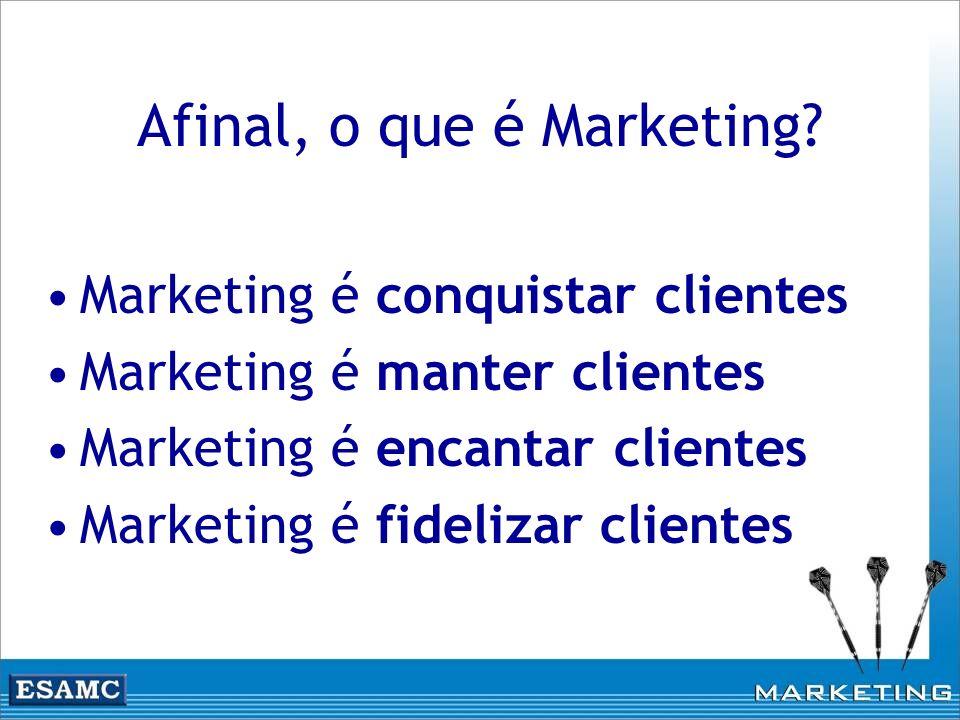 Afinal, o que é Marketing? Marketing é conquistar clientes Marketing é manter clientes Marketing é encantar clientes Marketing é fidelizar clientes