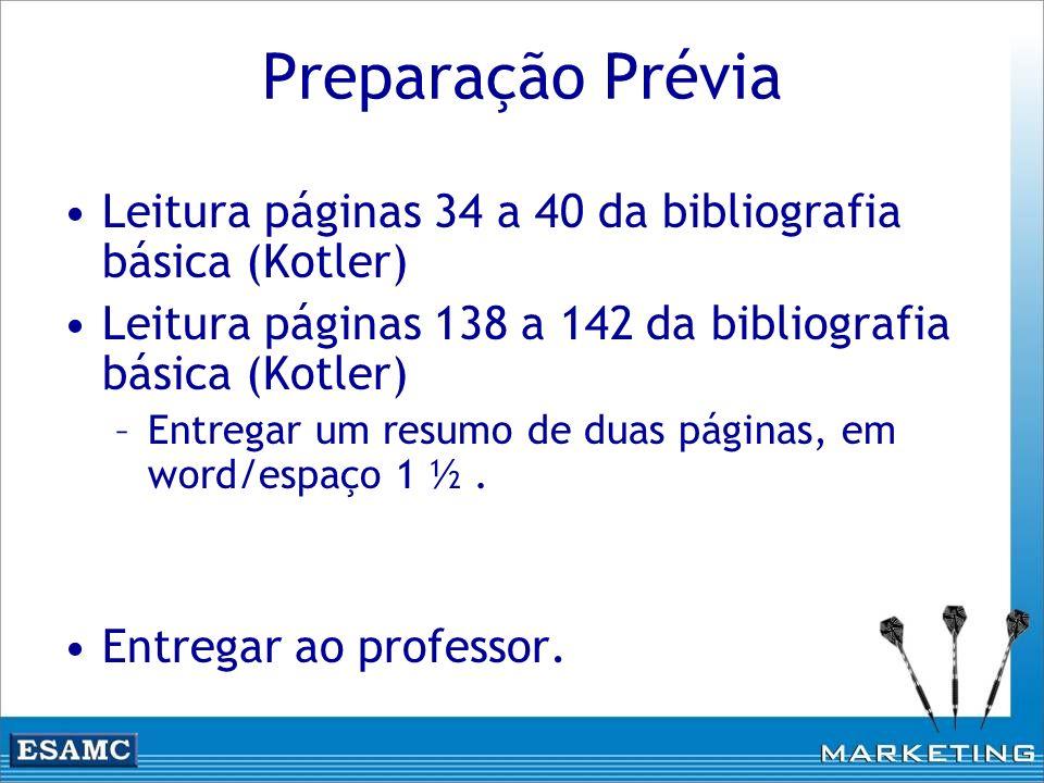 Preparação Prévia Leitura páginas 34 a 40 da bibliografia básica (Kotler) Leitura páginas 138 a 142 da bibliografia básica (Kotler) –Entregar um resum