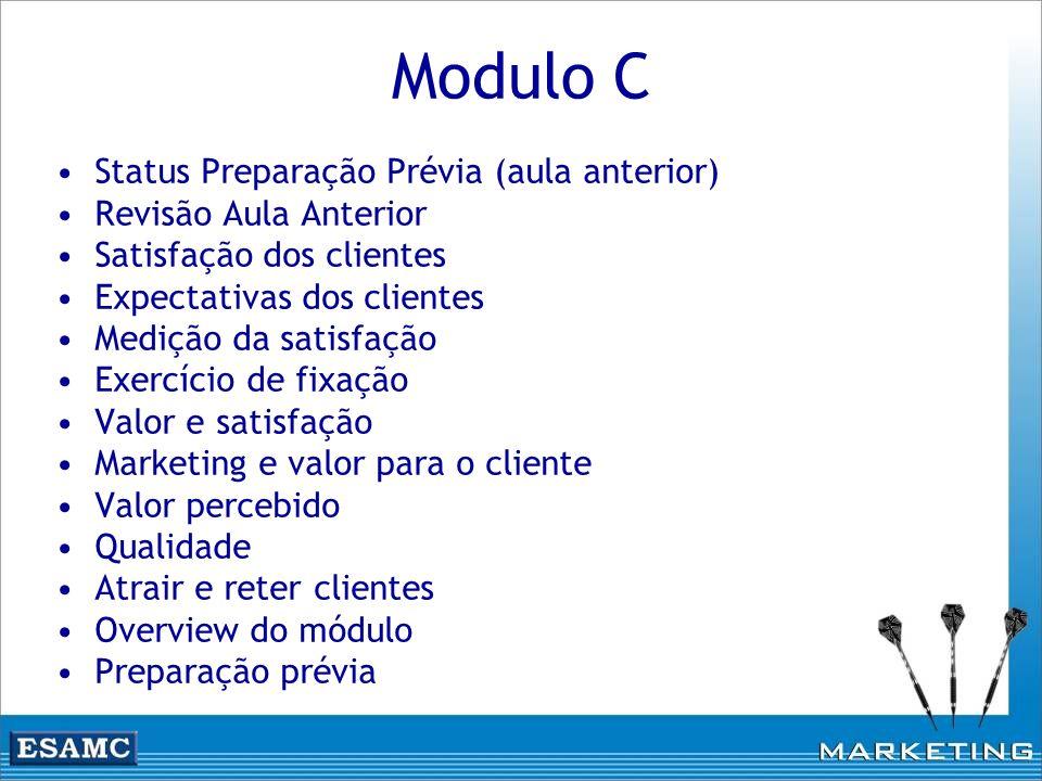 Modulo C Status Preparação Prévia (aula anterior) Revisão Aula Anterior Satisfação dos clientes Expectativas dos clientes Medição da satisfação Exercí
