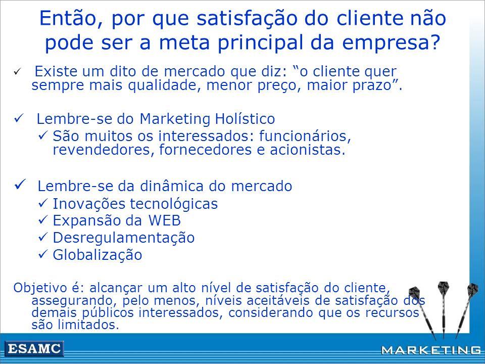 Então, por que satisfação do cliente não pode ser a meta principal da empresa? Existe um dito de mercado que diz: o cliente quer sempre mais qualidade