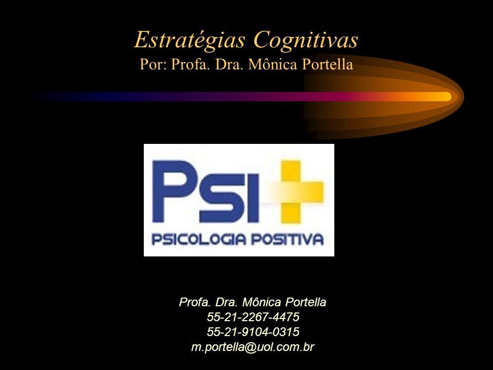 Profa. Dra. Mônica Portella 55-21-2267-4475 55-21-9104-0315 m.portella@uol.com.br Estratégias Cognitivas Por: Profa. Dra. Mônica Portella