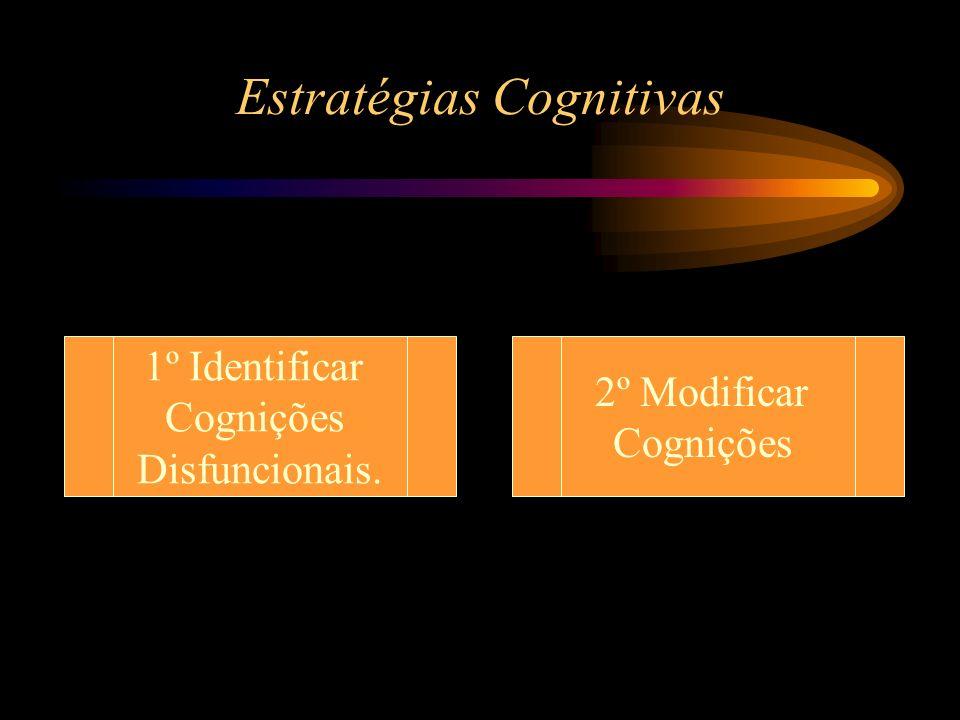 Estratégias Cognitivas 1º Identificar Cognições Disfuncionais. 2º Modificar Cognições