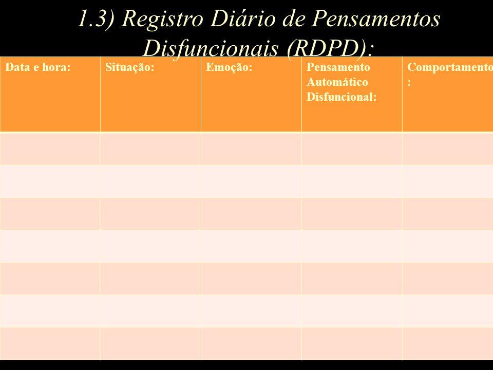 Data e hora:Situação:Emoção:Pensamento Automático Disfuncional: Comportamento : 1.3) Registro Diário de Pensamentos Disfuncionais (RDPD):