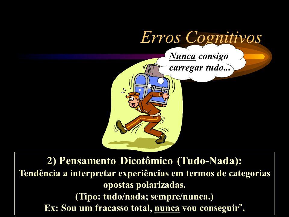 Erros Cognitivos 2) Pensamento Dicotômico (Tudo-Nada): Tendência a interpretar experiências em termos de categorias opostas polarizadas. (Tipo: tudo/n