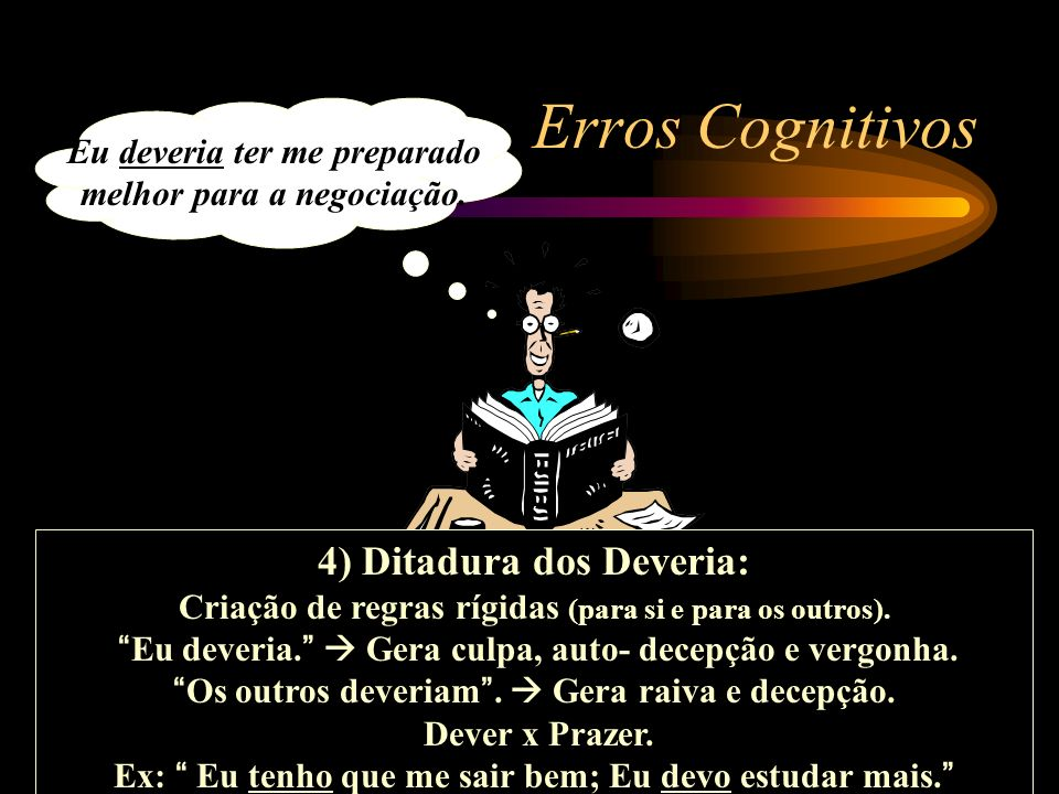Eu deveria ter me preparado melhor para a negociação. Erros Cognitivos 4) Ditadura dos Deveria: Criação de regras rígidas (para si e para os outros).