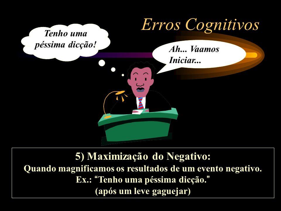Erros Cognitivos 5) Maximização do Negativo: Quando magnificamos os resultados de um evento negativo. Ex.: Tenho uma péssima dicção. (após um leve gag