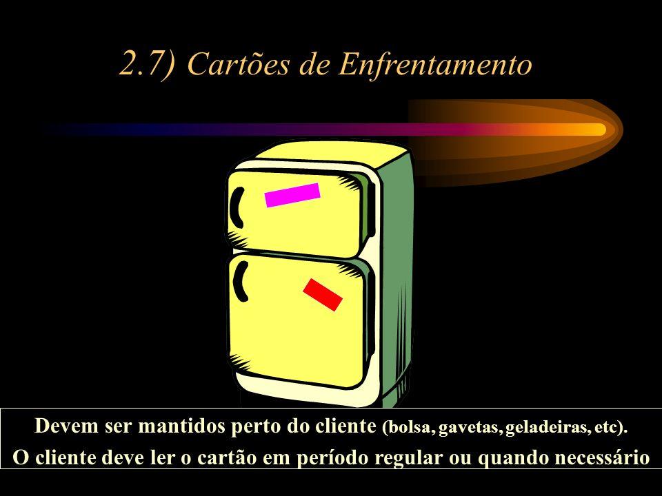 2.7) Cartões de Enfrentamento Devem ser mantidos perto do cliente (bolsa, gavetas, geladeiras, etc). O cliente deve ler o cartão em período regular ou
