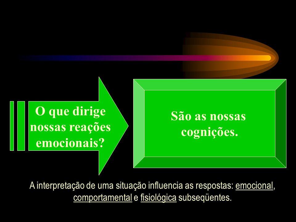 São as nossas cognições. A interpretação de uma situação influencia as respostas: emocional, comportamental e fisiológica subseqüentes.