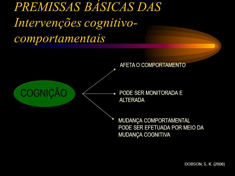 PREMISSAS BÁSICAS DAS Intervenções cognitivo- comportamentais COGNIÇÃO AFETA O COMPORTAMENTO PODE SER MONITORADA E ALTERADA MUDANÇA COMPORTAMENTAL POD