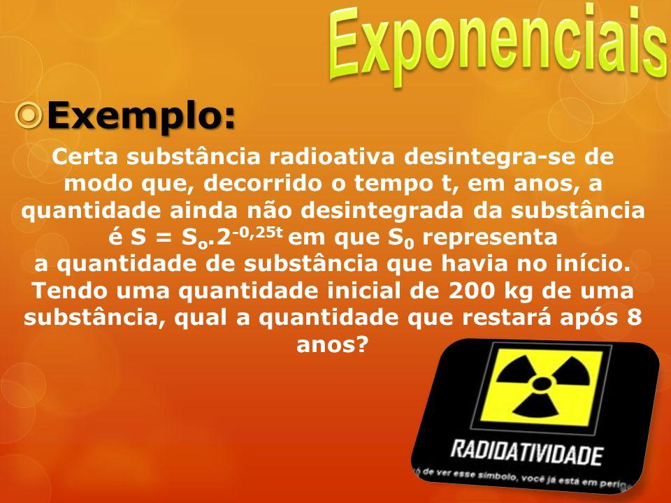 Exemplo: Exemplo: Certa substância radioativa desintegra-se de modo que, decorrido o tempo t, em anos, a quantidade ainda não desintegrada da substânc