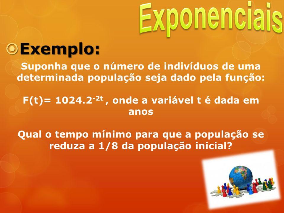 Exemplo: Exemplo: Suponha que o número de indivíduos de uma determinada população seja dado pela função: F(t)= 1024.2 -2t, onde a variável t é dada em