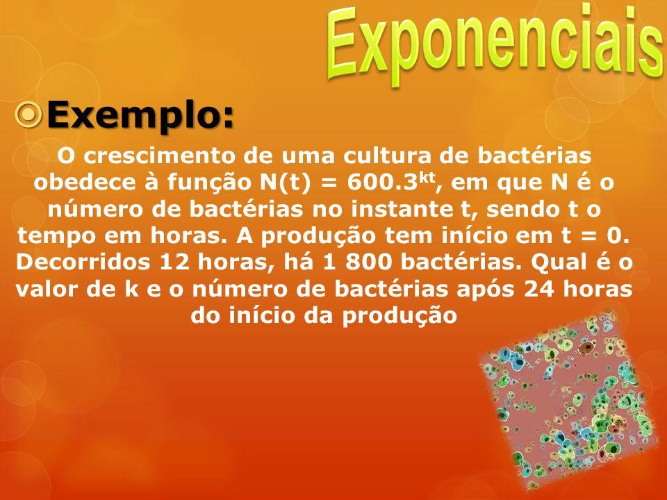 Exemplo: Exemplo: O crescimento de uma cultura de bactérias obedece à função N(t) = 600.3 kt, em que N é o número de bactérias no instante t, sendo t