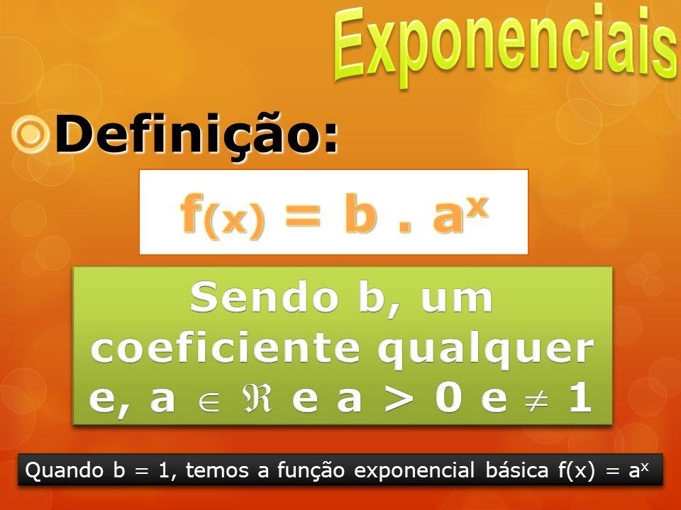 Definição: Definição: Quando b = 1, temos a função exponencial básica f(x) = a x