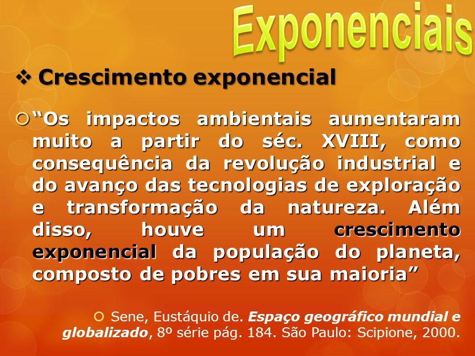 Crescimento exponencial Crescimento exponencial Os impactos ambientais aumentaram muito a partir do séc. XVIII, como consequência da revolução industr