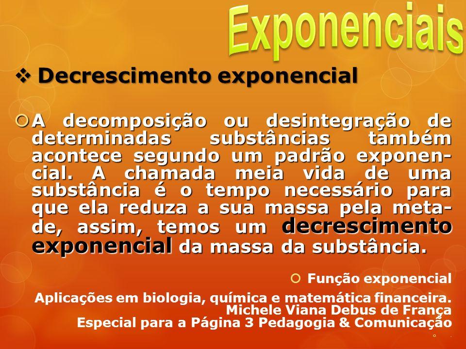 Decrescimento exponencial Decrescimento exponencial A decomposição ou desintegração de determinadas substâncias também acontece segundo um padrão expo