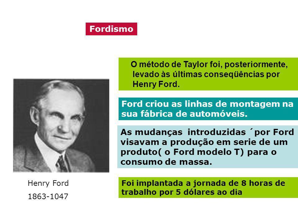 Fordismo O método de Taylor foi, posteriormente, levado às últimas conseqüências por Henry Ford. Henry Ford 1863-1047 Ford criou as linhas de montagem