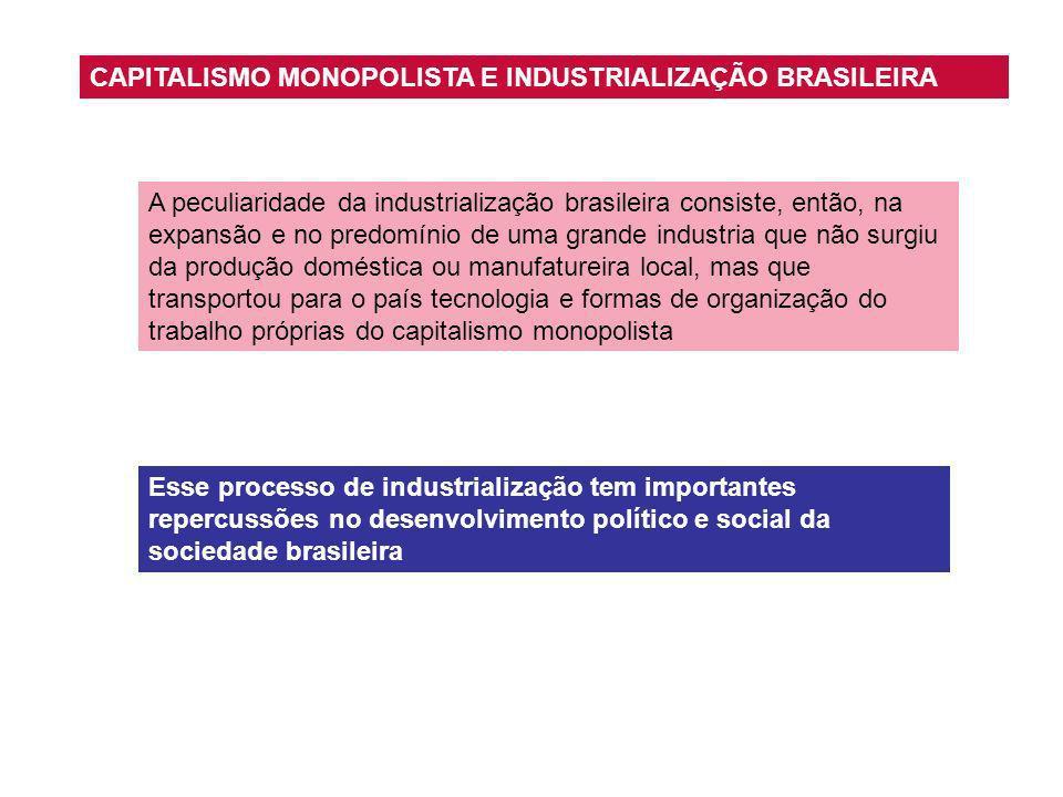A peculiaridade da industrialização brasileira consiste, então, na expansão e no predomínio de uma grande industria que não surgiu da produção domésti