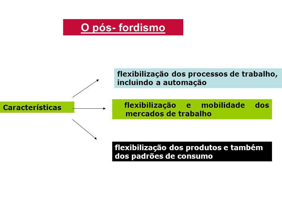 Características flexibilização dos processos de trabalho, incluindo a automação flexibilização e mobilidade dos mercados de trabalho flexibilização do