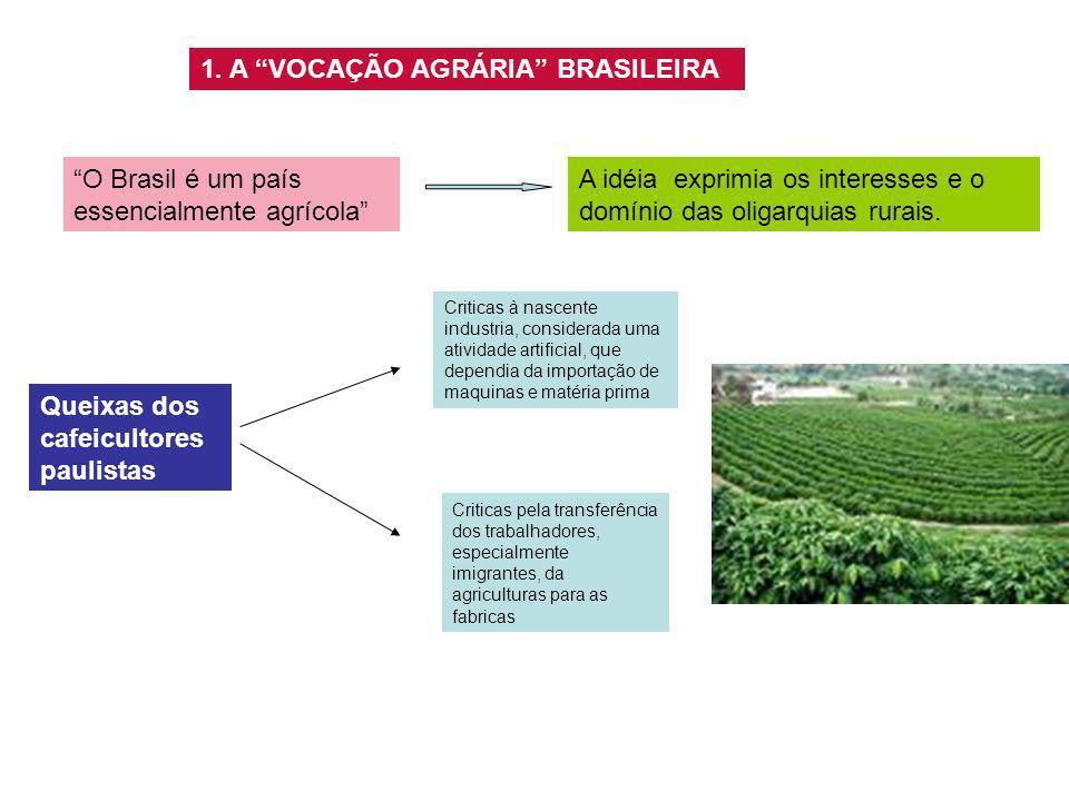 1. A VOCAÇÃO AGRÁRIA BRASILEIRA O Brasil é um país essencialmente agrícola A idéia exprimia os interesses e o domínio das oligarquias rurais. Queixas