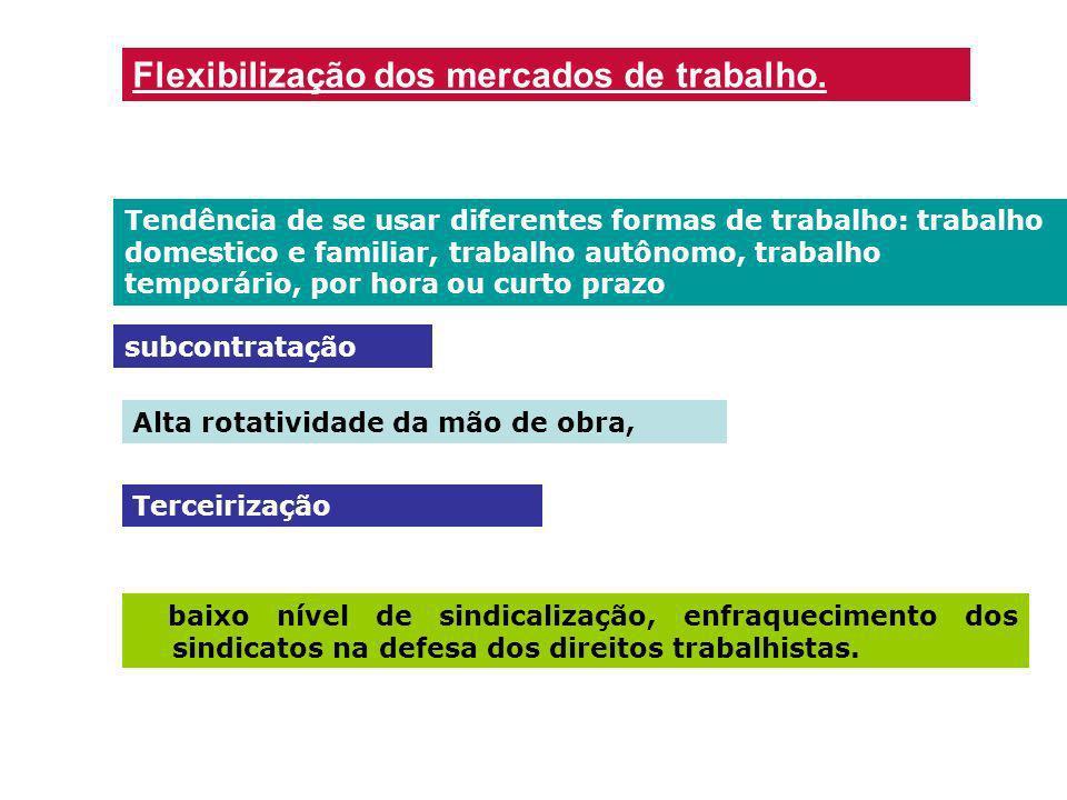 Flexibilização dos mercados de trabalho. Tendência de se usar diferentes formas de trabalho: trabalho domestico e familiar, trabalho autônomo, trabalh