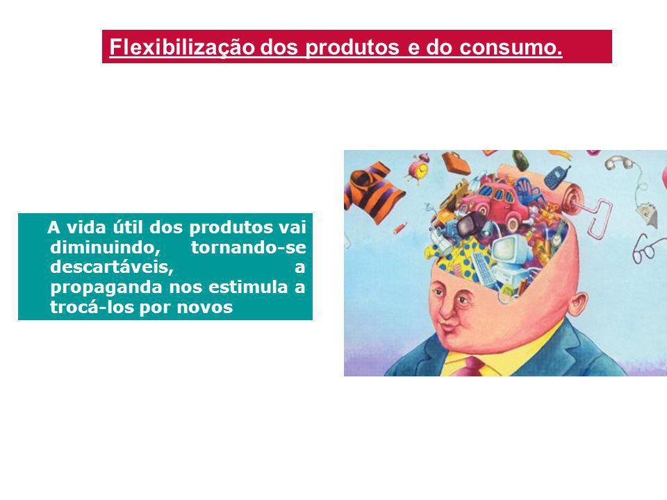 Flexibilização dos produtos e do consumo. A vida útil dos produtos vai diminuindo, tornando-se descartáveis, a propaganda nos estimula a trocá-los por