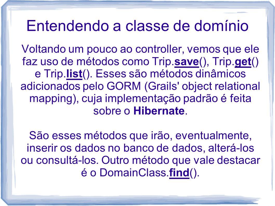Entendendo a classe de domínio Voltando um pouco ao controller, vemos que ele faz uso de métodos como Trip.save(), Trip.get() e Trip.list(). Esses são
