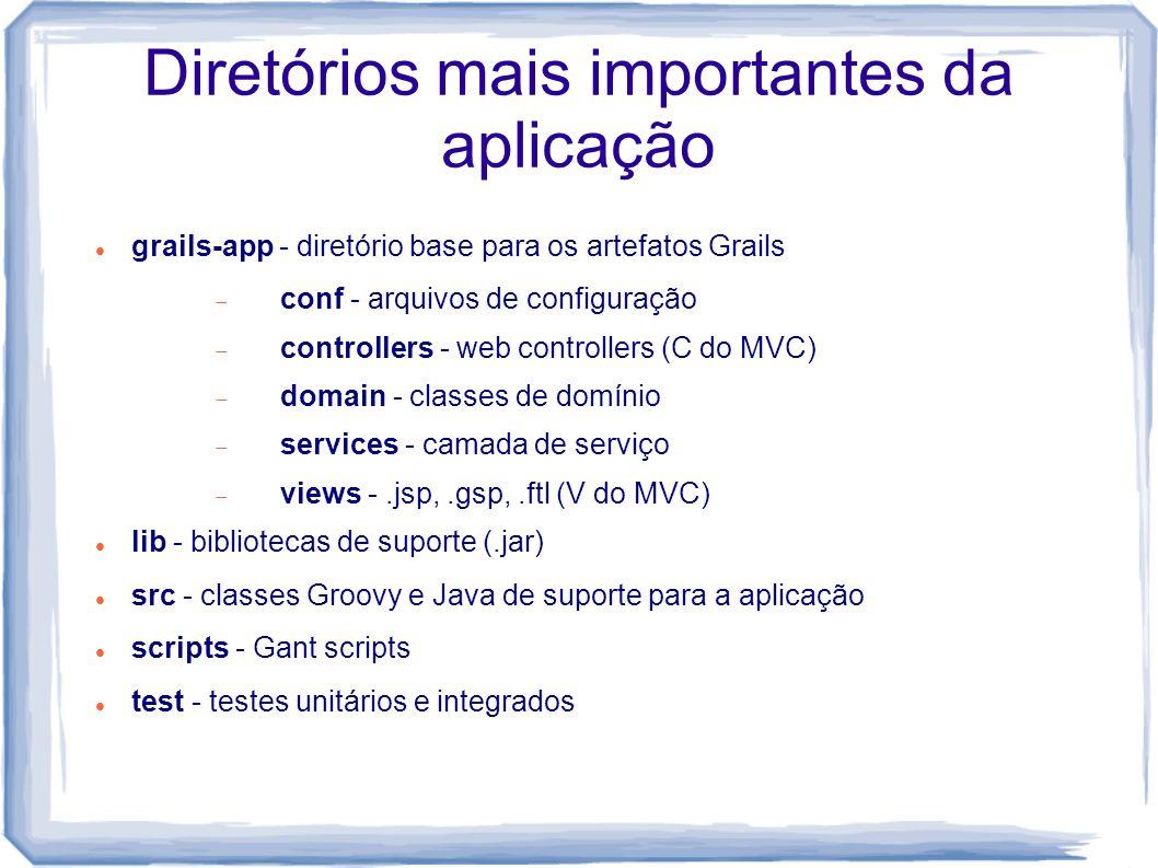Diretórios mais importantes da aplicação grails-app - diretório base para os artefatos Grails conf - arquivos de configuração controllers - web contro