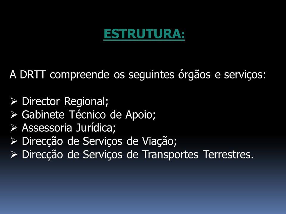 ESTRUTURA : A DRTT compreende os seguintes órgãos e serviços: Director Regional; Gabinete Técnico de Apoio; Assessoria Jurídica; Direcção de Serviços